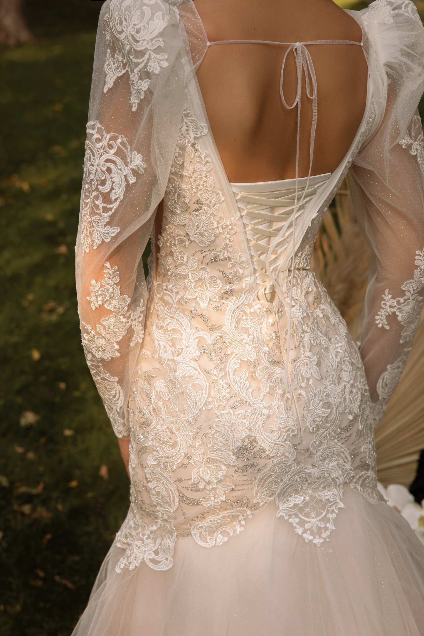 3d floral lace wedding dress with sleeves_3