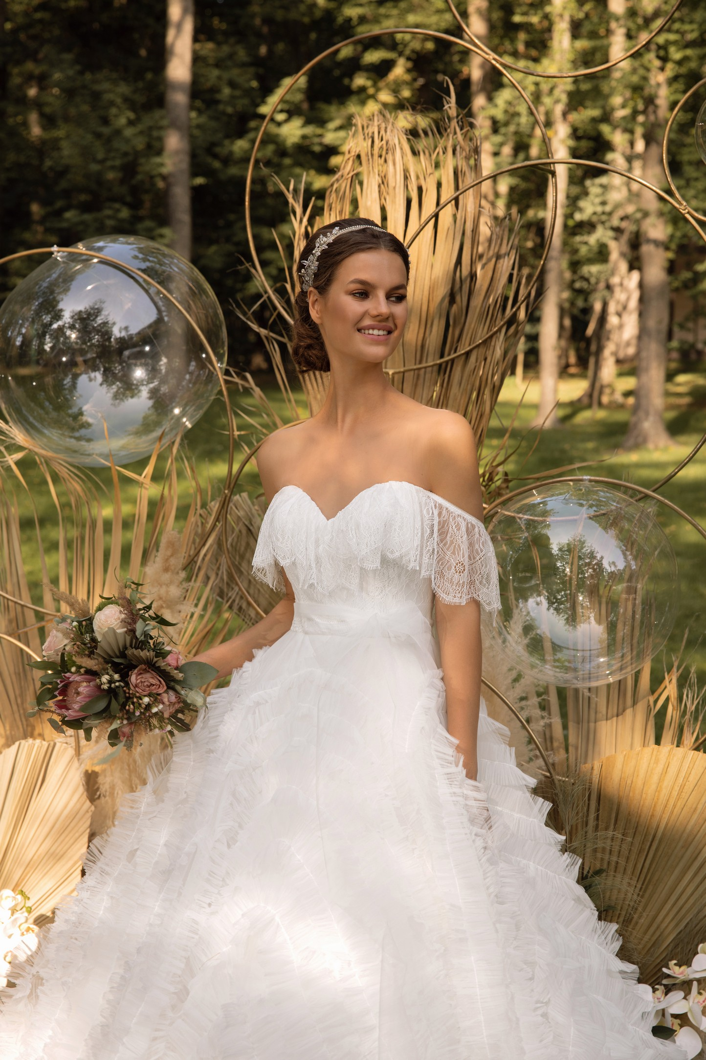 Boho Lace Wedding Dress With Embroidered Tulle And Open Back