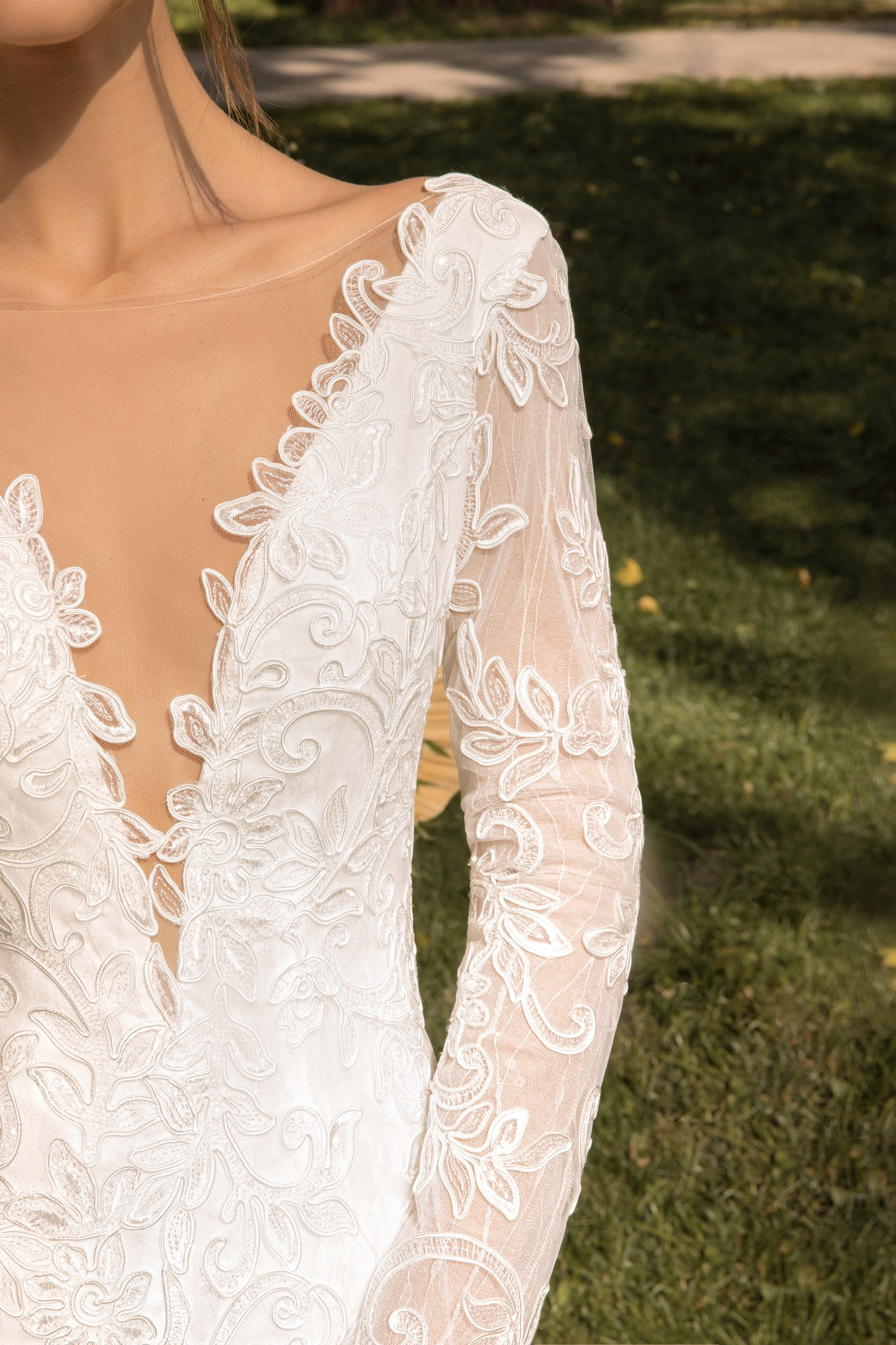 Lace A-line Wedding Dress With Corset Bodice, Ruched Long Sleeves And Bow Neck