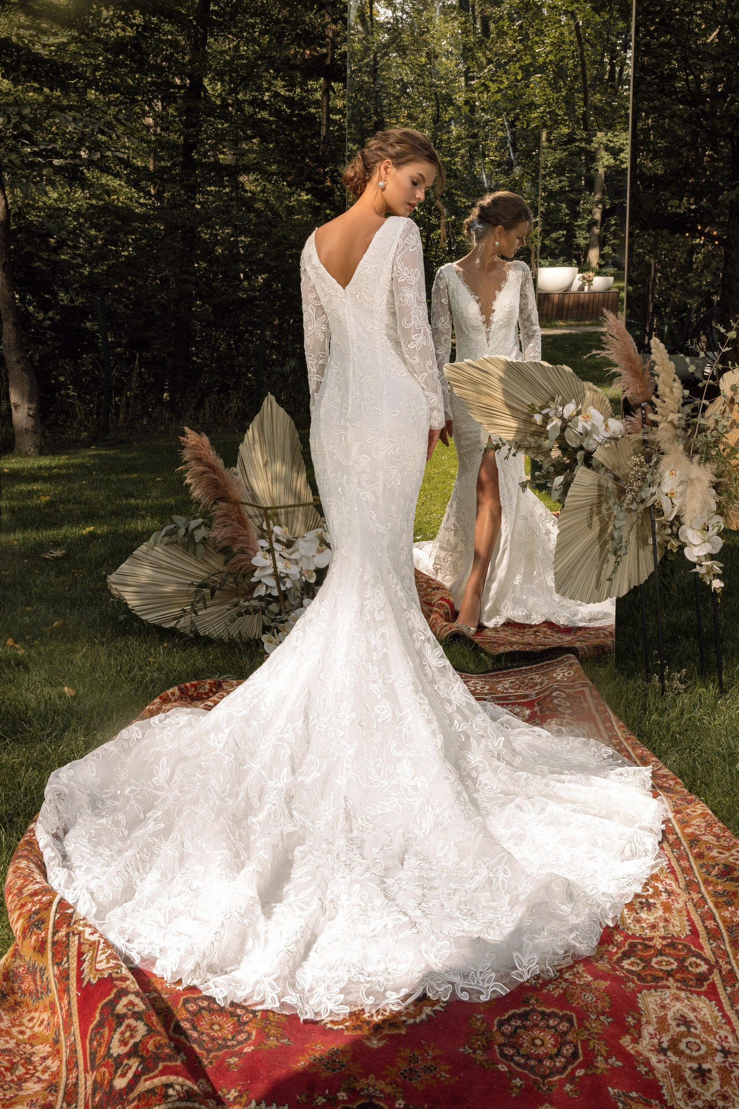 Lace A-line Wedding Dress With Corset Bodice, Ruched Long Sleeves And Bow Neck_1