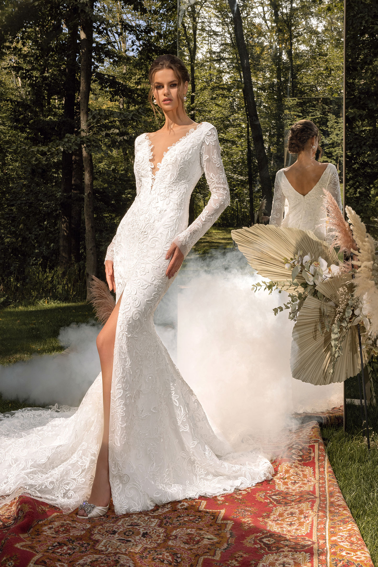 Lace A-line Wedding Dress With Corset Bodice, Ruched Long Sleeves And Bow Neck_3