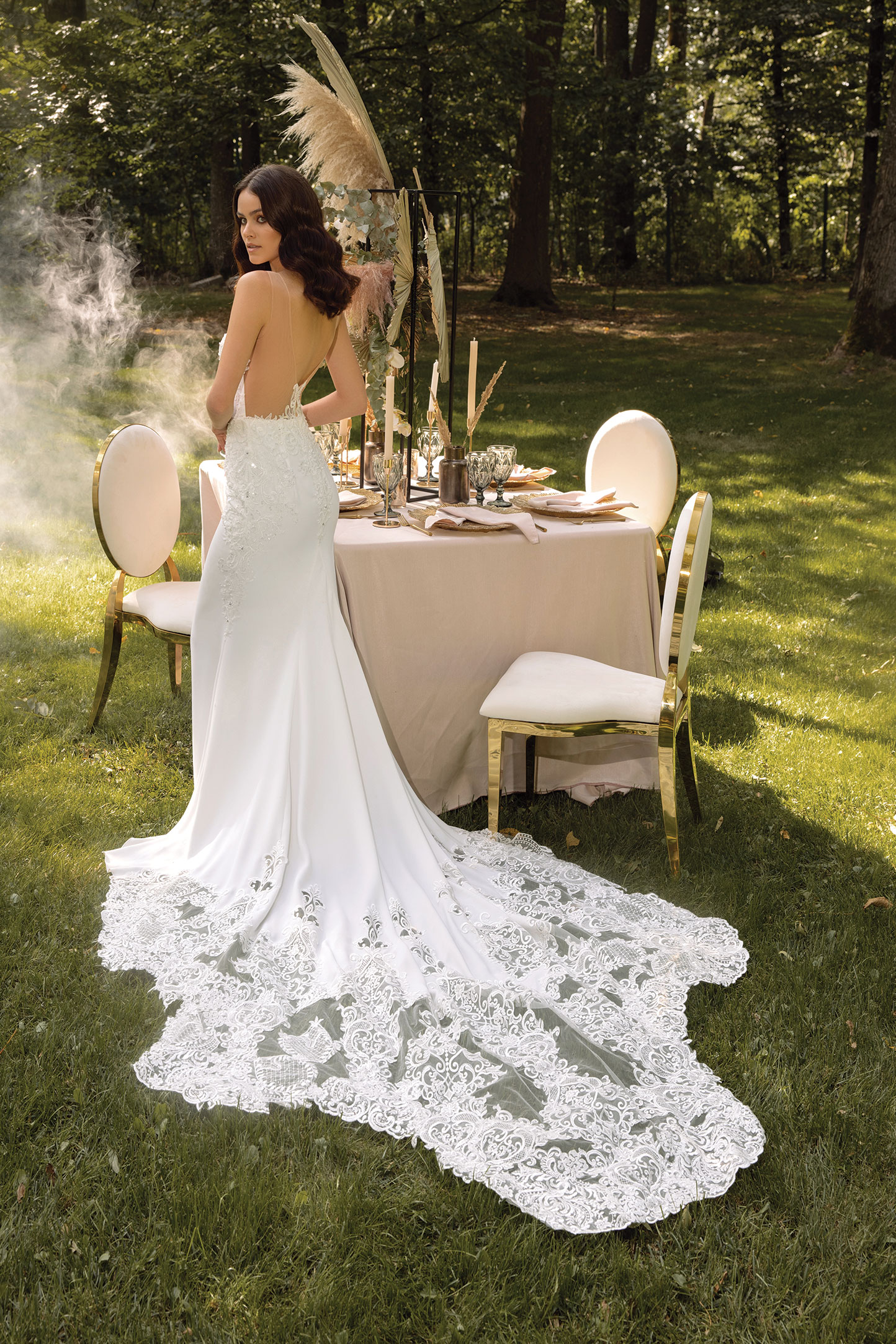 Lace-A-line-Wedding-Dress-With-Corset-Bodice,-Ruched-Long-Sleeves-And-Bow-Neck_6
