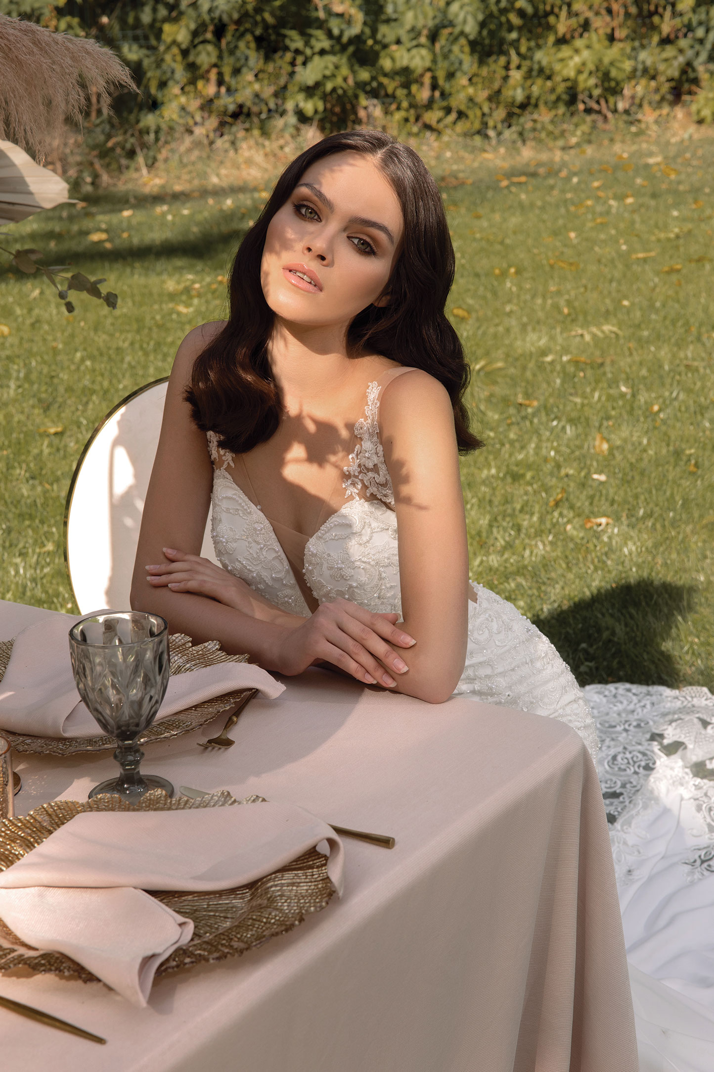 Lace-A-line-Wedding-Dress-With-Corset-Bodice,-Ruched-Long-Sleeves-And-Bow-Neck_7