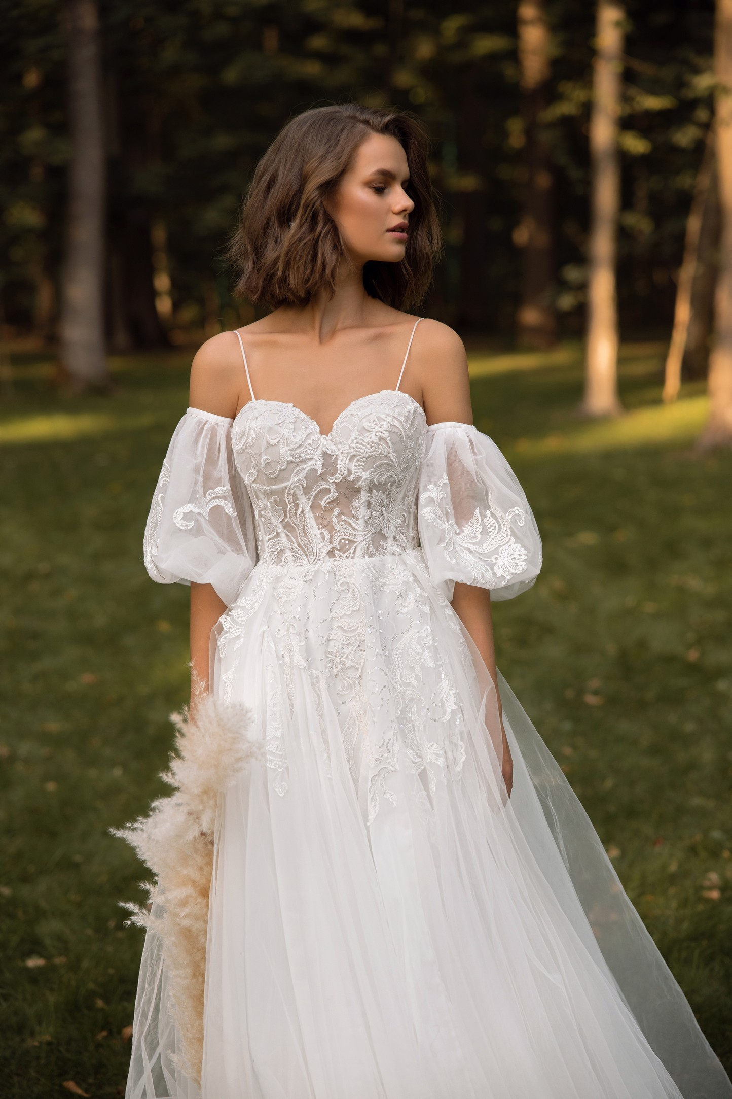 Lace Halter Neckline Fit And Flare Lace Wedding Dress With Back Detail