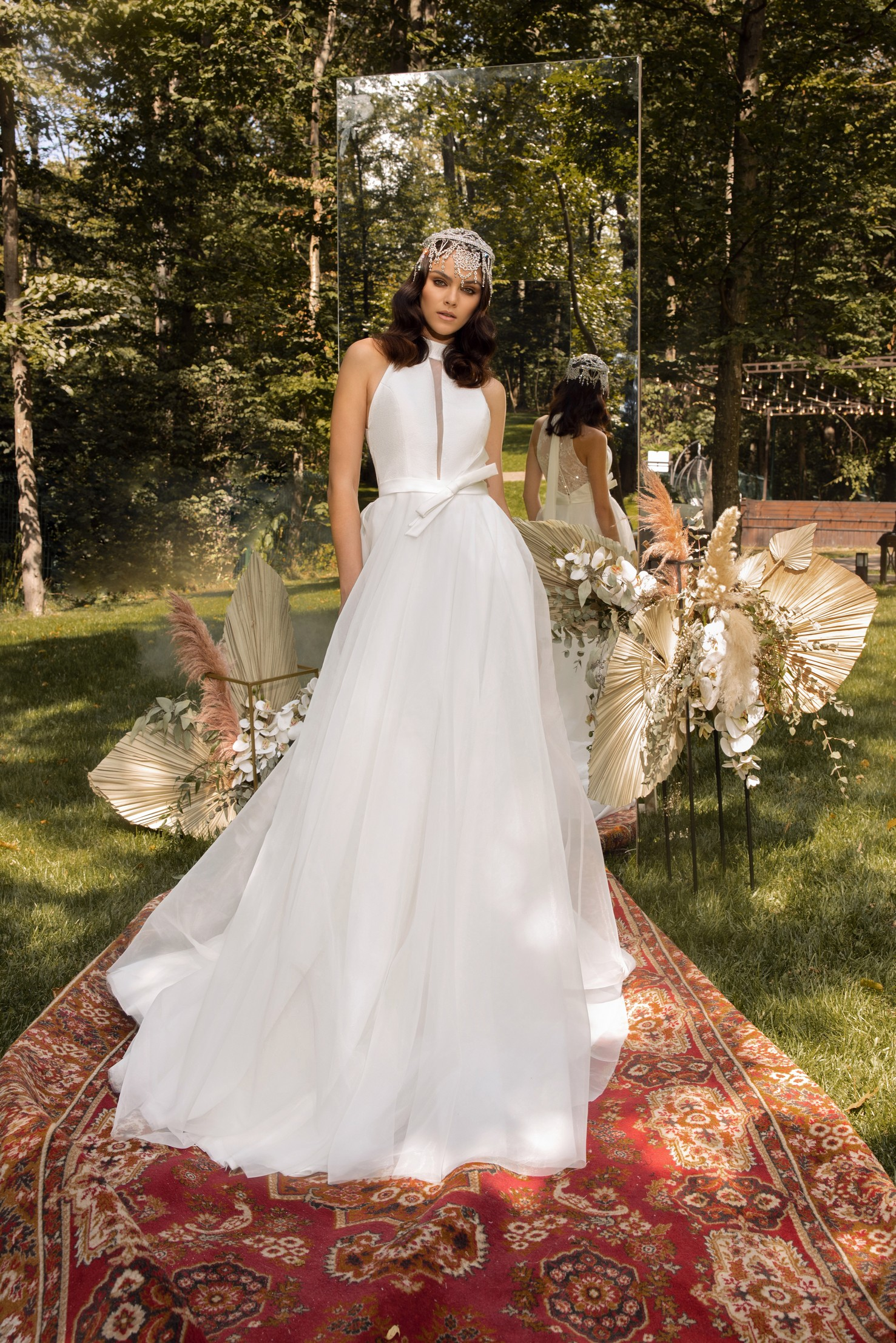 Long Sleeve Beaded Lace Bodice With Stretch Cape Skirt Wedding Dress