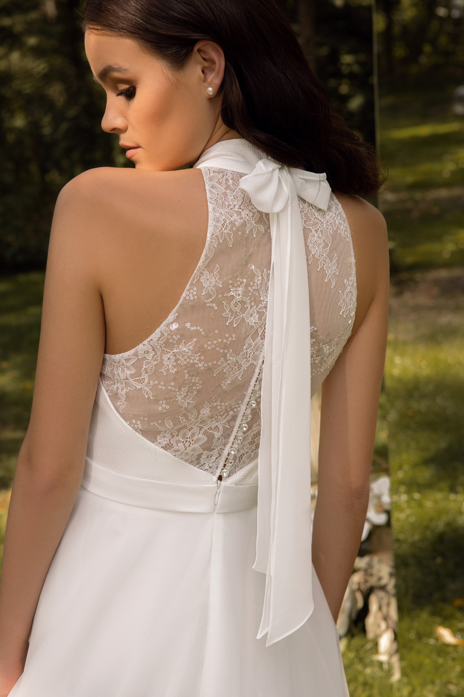 Long Sleeve Beaded Lace Bodice With Stretch Cape Skirt Wedding Dress _6