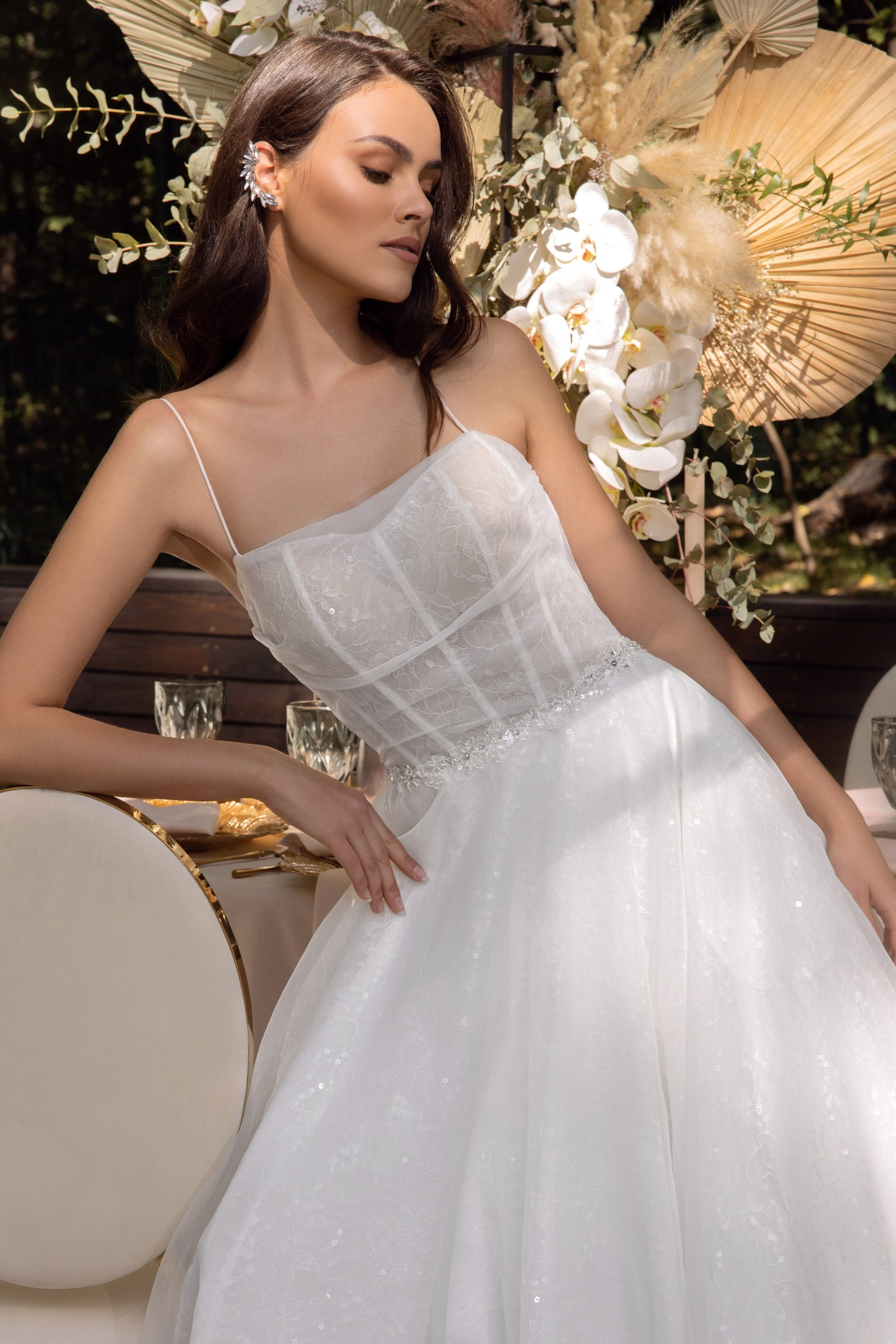 backless romantic a-line wedding dress with 3d floral detail