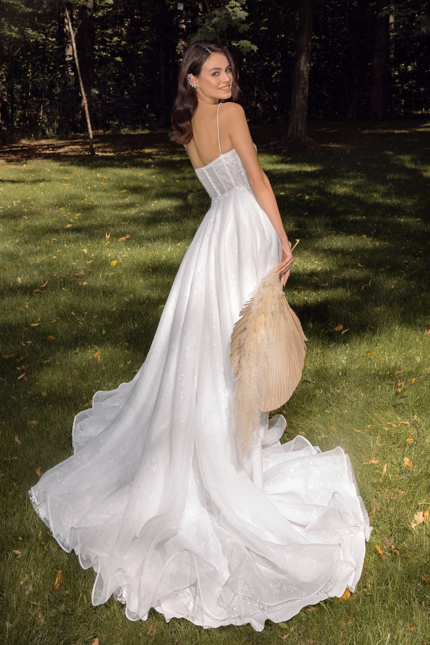 backless romantic a-line wedding dress with 3d floral detail_3