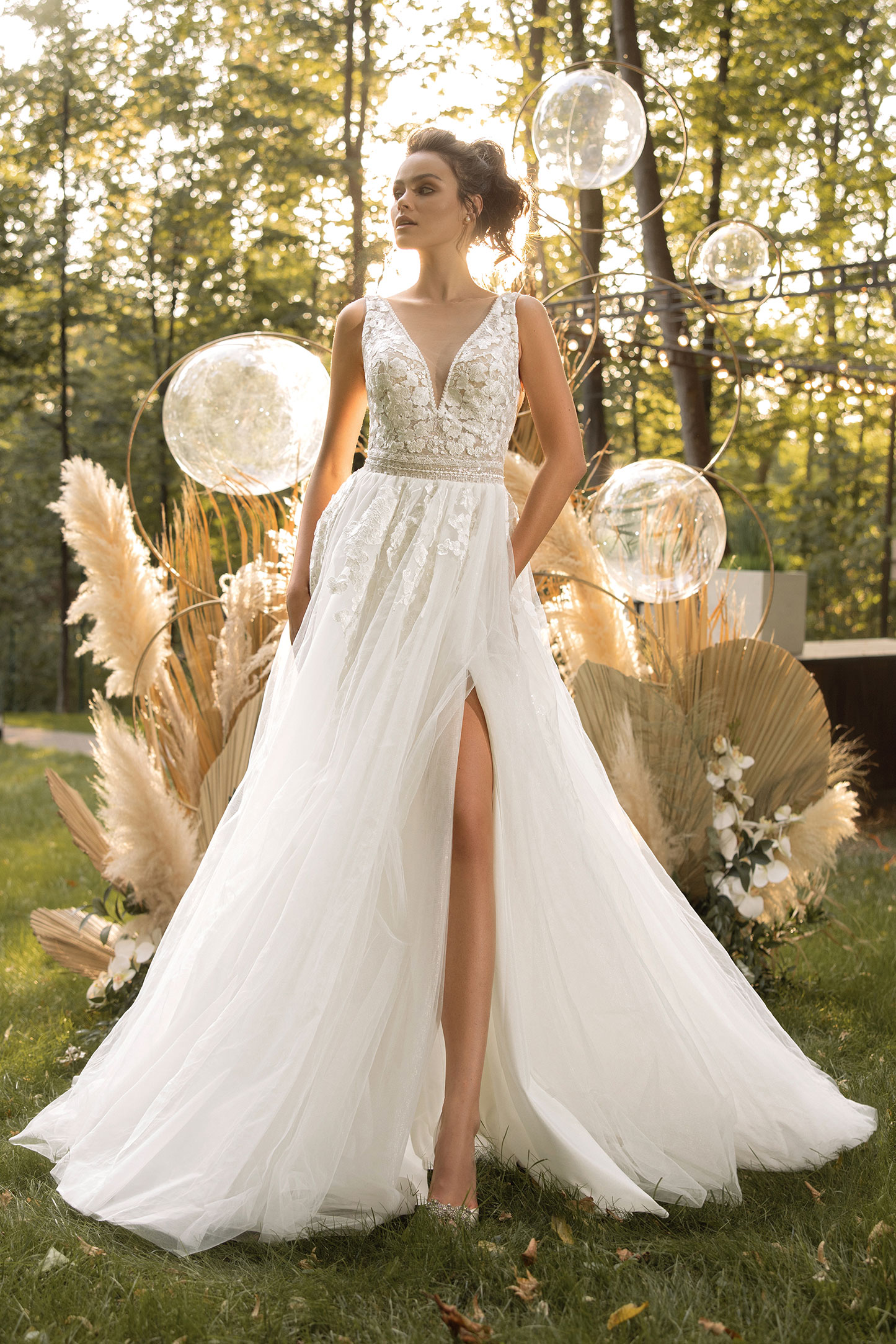 classic and modern off the shoulder ball gown by collection victoria soprano Wedding-dress